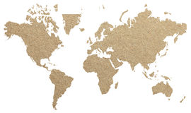 World map with old paper background Stock Photography