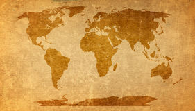 World map on old paper texture Royalty Free Stock Photo