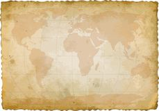 World. Map on old sheet of paper Royalty Free Stock Photo
