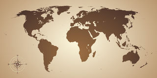 World map old style. With compas Royalty Free Stock Images