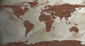 World map. On the old wall Stock Photo