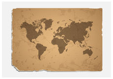 World Map On Blank Grunge Paper Texture Royalty Free Stock Photo