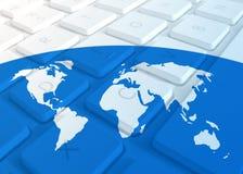 World Map On Keyboard Stock Photos