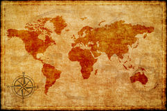 World Map On Old Paper Stock Images