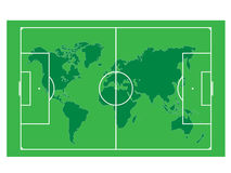 World Map On The Soccer Field Royalty Free Stock Photos