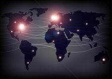 World Map and Optical Fibers. Background - Illustration of World Map with Optical Fibers Royalty Free Stock Photos