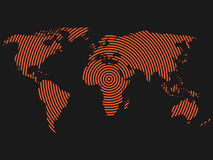 World map of orange concentric rings on dark grey background. Worldwide communication radio waves concept Modern design. Vector wallpaper royalty free illustration