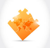 World map orange puzzle game Stock Image