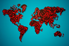 World map ornamental Stock Image