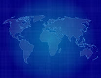 World Map Outline in blue Stock Photos