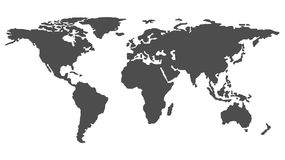 World Map Outline Monochrome. World Map Outline Isolated on White Background in Dark Grey Color. Modern Web Design Vector Royalty Free Stock Photography