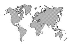 World map . outline and oblique line . Royalty Free Stock Image