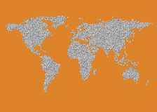 World map outline vector black dots white fill orange brown background. World map outline in black dots on white fill. Map outline on orange brown background Royalty Free Stock Photo