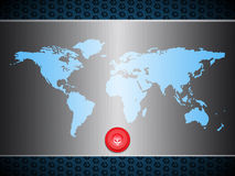 World map over metallic silver plate with scary red button Stock Photos