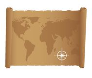 World map over old paper. With compass rose. Vector illustration vector illustration