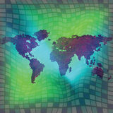 World map over squared background Stock Photography