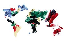 World Map, Painted by Finger Paint Royalty Free Stock Photography
