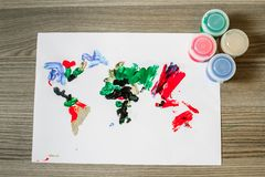 World Map, Painted by Finger Paint Royalty Free Stock Photo