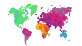 World map painted light watercolor tones