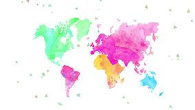 World map painted light watercolour tones