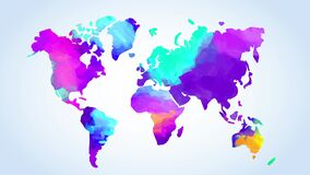 World map painted with mix of vibrant colors