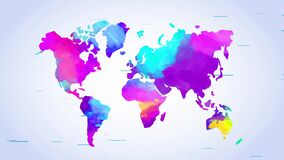 World map painted with mix of vibrant colours