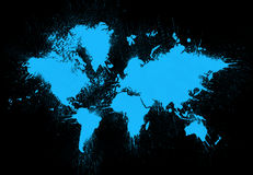 World map painting. Blue spots of one color on black. Abstract painting Royalty Free Stock Photo