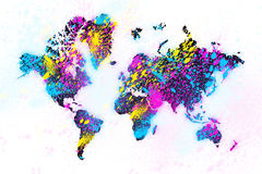 World map painting Stock Photo