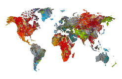 World map in palette of artist Royalty Free Stock Photos