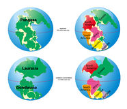 World map of Pangaea, Laurasia, Gondwana Royalty Free Stock Photos