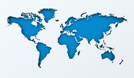 World map paper cutout with blue background Stock Images