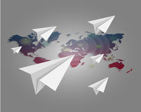 World map with paper planes  background. Vector world map with paper planes background Royalty Free Stock Images