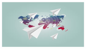 World map with paper planes vector background. Trendy style for graphic design, Web site, social media, user interface. Vector world map with paper planes Stock Photo