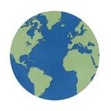 World map papercraft on white background. Royalty Free Stock Photography