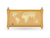 World map on papirus with gold fill Stock Photography