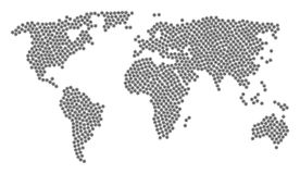 World Map Pattern of Virus Items. Global world map pattern created of virus icons. Vector virus items are united into mosaic world illustration Stock Photography