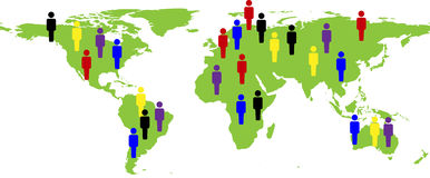 World map with people Stock Images