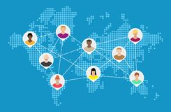 World map with people avatars. Social netwroking. Male and female faces avatars. Discussion group, people talking. Communication, chat, assistance. Vector Stock Photography