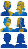 World map people head icons. World planisphere in male and female people head, digital illustration Stock Photo