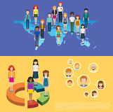 World map and people infographic Stock Photos
