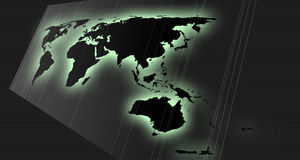 World map in perspective stock photos