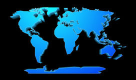 World map perspective. Shape of world map with perspective effect Stock Photography