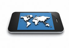 World map phone Stock Photography