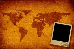 World map and photo frame Royalty Free Stock Image