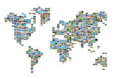 World map with photos Royalty Free Stock Photography
