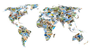 World map with photos. Collection of different photos placed as world map shape vector illustration