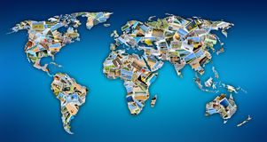 World map with photos Stock Photography
