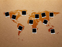 World map with photos frame Stock Images