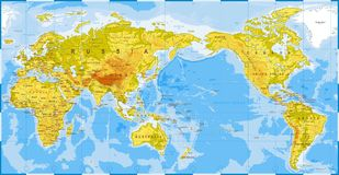 World Map Physical - Asia in Center - China, Korea, Japan.  Royalty Free Stock Photos