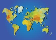 World map  physical polygonal Stock Photos